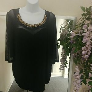 Libian Beaded Neckline Sexy Black Top with Mesh